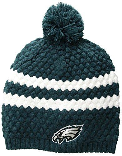 (NFL Philadelphia Eagles Women's Winona OTS Beanie Knit Cap with Pom, Pacific Green, Women's)