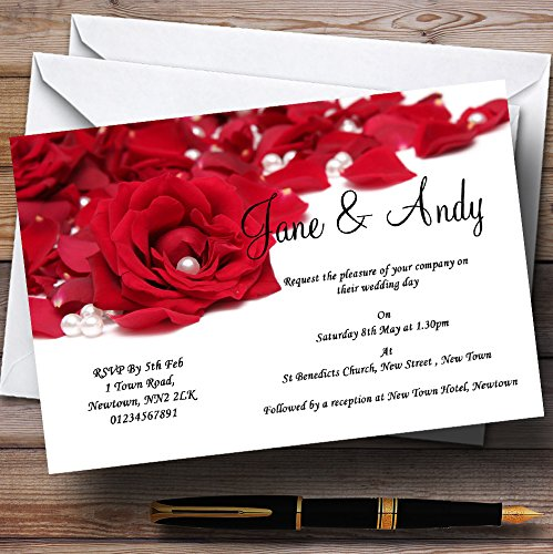 (White Pearl Red Rose Petals Personalized Wedding Invitations)