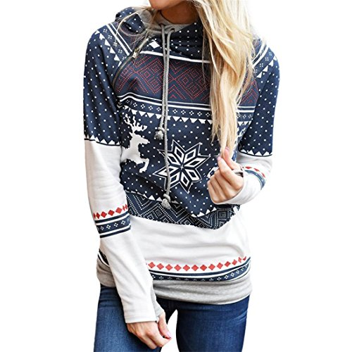 HANYI Women Christmas Long Sleeve Hooded Pullover Loose Swing Sweatshirt Tunics Sweater (Blue Deer Dots, (Striped 2fer Top)