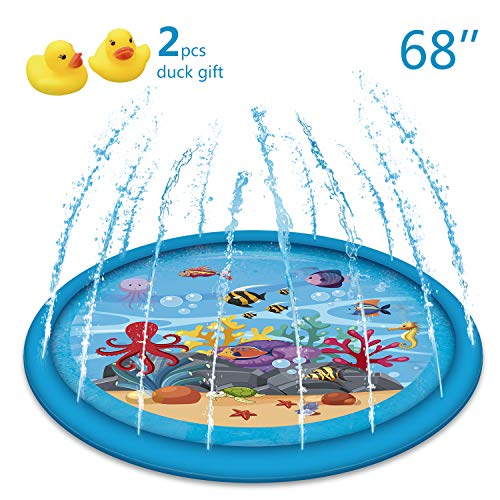 "Apopbeaty 2019 New Sprinkle and Splash Play Mat 68""+ Mini Yellow Duck,Water Fun Toys for Children Toddlers Boys Girls Kids Outdoor Party Water Inflatable Play Pad Summer Fun Backyard"