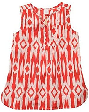 Girls Geo Print Tunic Top (6 Months, Red)