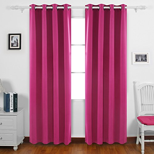 Deconovo Grommet Top Fuchsia Solid Thermal Insulated Blackout Curtain For  Kids Room 52x95 Pair