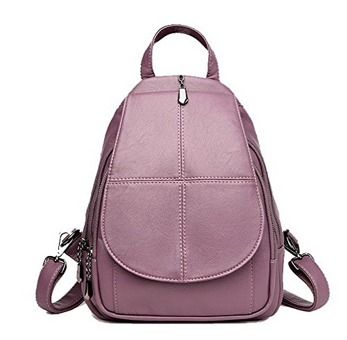 AgooLar Femme Sacs à dos Daypack École Zippers Sacs à bandoulière, GMBBB181576, Noir Violet