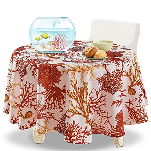 YEMYHOM 100% Polyester Spillproof Tablecloths for Round Tables 60 Inch, Modern Printed Indoor Outdoor Camping Picnic Circle Table Cloth (Red Tree)
