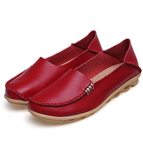 fisca Mujer Tanner Pebbled Controladores Piel Casual Mocasines Planos Barco Zapatos Rojo