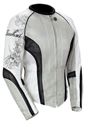 Joe Rocket Cleo 2.2 Women's Mesh Motorcycle Riding Jacket (Silver/Black/White, Large)