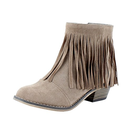 Breckelles DC62 Women Suede Fringe Cap Toe Ankle Booties