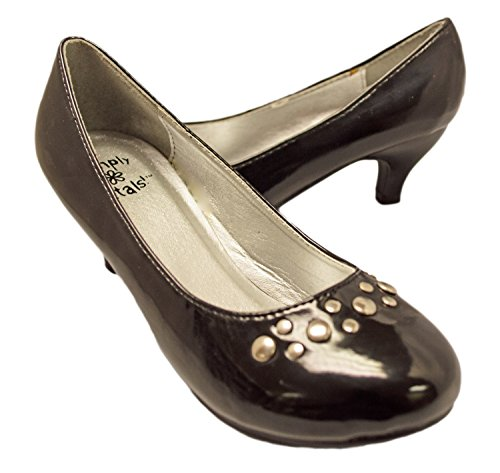 Simply Petals Girl's Pretty Party Patent Leather Heel Pump with Studs (1 Little Kids, Black Patent) - Kid Leather Pump