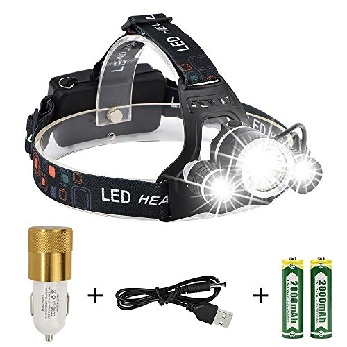 LED Headlamp Headlight, Ultra Bright Waterproof Headlamp Flashlight 4 Modes Rechargeable Headlights for Hiking, Climbing, Camping, Walking, Caving, Fishing, Cycling