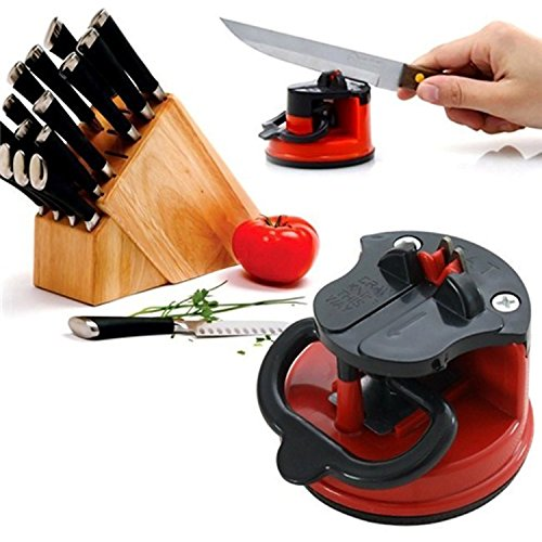 Profestional Knife Sharpener With Suction Pad For All Types Of Knives: Kitchen Knife, Scissor, Grinder Blade... Eco Friendly Knife Sharpening Quick And Easy To Use Made By CAHU. - Model Master Insignia Yellow