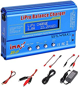 Lipo Battery Charger for LiPo/Li-ion/Life/LiHV Battery (1-6S), NiMH/NiCd (1-15S), Rc Hobby Battery Balance Charger LED W/AC Power Adapte (B6-Blue)