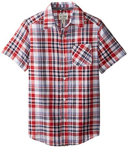 The Children's Place Big Boys' Short Sleeve Americana Plaid Shirt, White, Medium/7/8