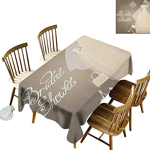 kangkaishi 3D Printed Long Tablecloth Desktop Protection pad Bride Party Wedding Dress Romantic Letterings Design Print W60 x L102 Inch Grey White and Pale Brown