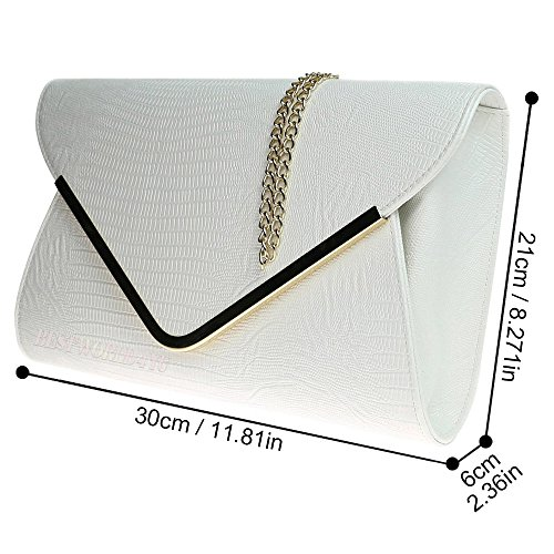 Shoulder HandBags Flat Print Bag Ladies Bag Clutch Wocharm Croc Evening Ivory Girly Animal Envelope 5qCPwPgUx