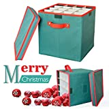 Christmas Ornament Storage Box Containers 2win2buy Adjustable 64 Compartment Cube Organizer with Dividers Xmas Storage Chest Keeps Holiday Decorations Clean and Dry for Next Season 12x12x12'' - Green