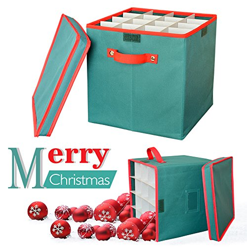 """2win2buy Christmas Ornament Storage Box Containers Adjustable 64 Compartment Cube Organizer with Dividers Xmas Storage Chest Keeps Holiday Decorations Clean and Dry for Next Season 12x12x12"""" – (Xmas Boxes For Gifts)"""