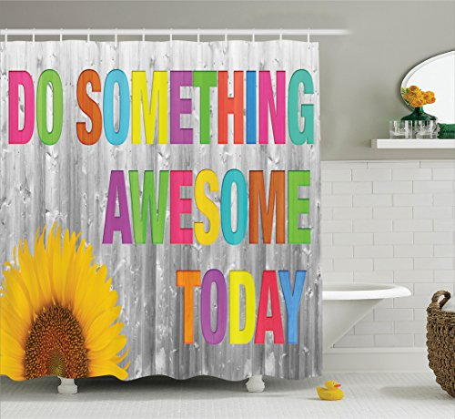 Ambesonne Quotes Decor Collection,Do Something Awesome Today Sunflower on Wooden Wall Wood Panel Colorful Design, Polyester Fabric Bathroom Shower Curtain, 75 Inches Long, Yellow Pink (Awesome Decorations)