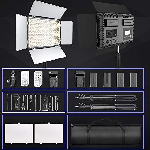 LED Video Light, SAMTIAN Dimmable Bi-Color 600 LED Studio Lights Lighting Kit: 3200K-5600K LED Panel Light with Barndoor, 2M Light Stand Carry Bag for YouTube Studio Photography Video Shooting by SAMTIAN (Image #8)