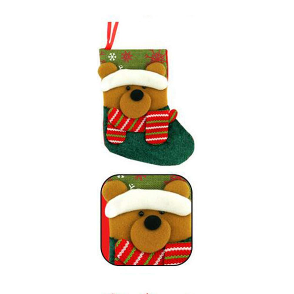 Chenway 1PC Christmas Mini Stocking Sock Gift Candy Bag | Santa Claus Xmas Tree Hanging Decoration Party Ornaments,Chilren,Women,Baby Girl (B)