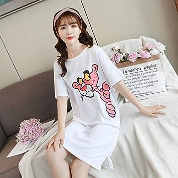 WXNLEAI El camisón de algodón femenino sexy versión coreana de estudiantes frescos suelta las mangas cortas ...