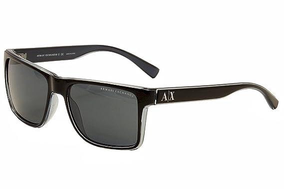 Amazon.com  Armani Exchange AX 4016 Unisex Sunglasses Black Transp ... d9c96ef0f78b