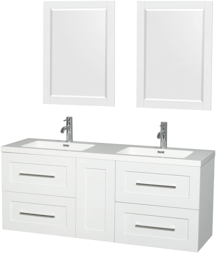 Wyndham Collection Olivia 60 inch Double Bathroom Vanity in Glossy White, Acrylic Resin Countertop, Integrated Sinks, and 24 inch Mirrors