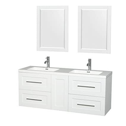 Wyndham Collection WCR450060DGWARINTM24 Olivia Double Vanity Set With  Acrylic Resin Countertop, Integrated Sinks, 24u0026quot