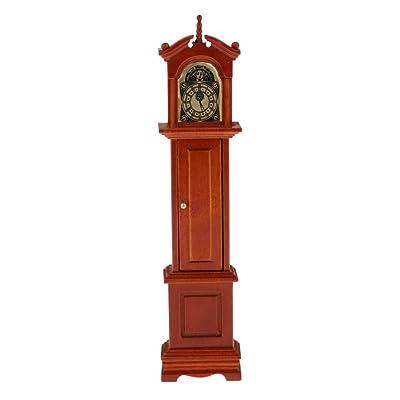 menolana Retro Style Annatto Grandfather Clock Furniture for 1:12 Dollhouse Accessory: Toys & Games