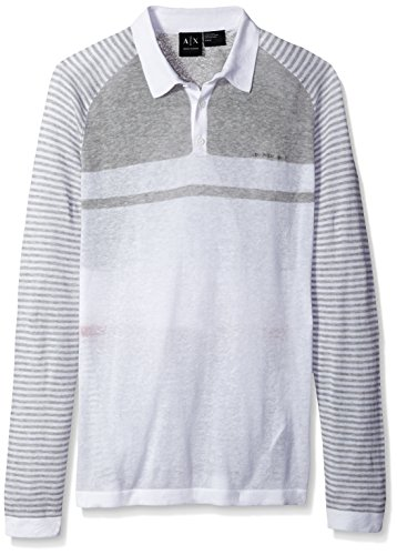 A|X Armani Exchange Men's Linen Cotton Stripe Long Sleeve Polo, White/Grey/Carmine,