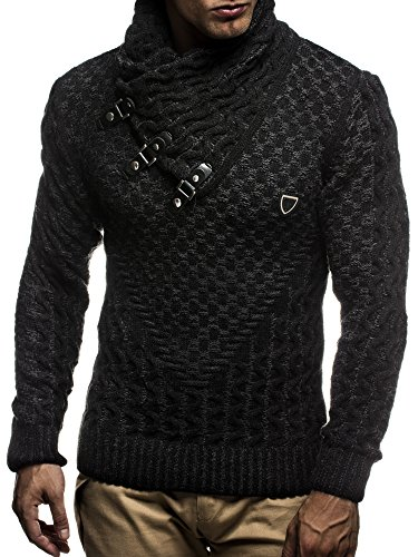 Faux Leather Accent (Leif Nelson LN5255 Men's Pullover With Faux Leather Accents; Size US - M/EU - L, Black Anthracite)
