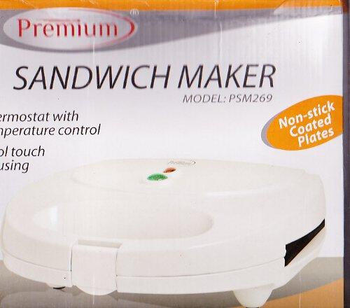 Premium PSM269 Sandwich Maker, White & Black