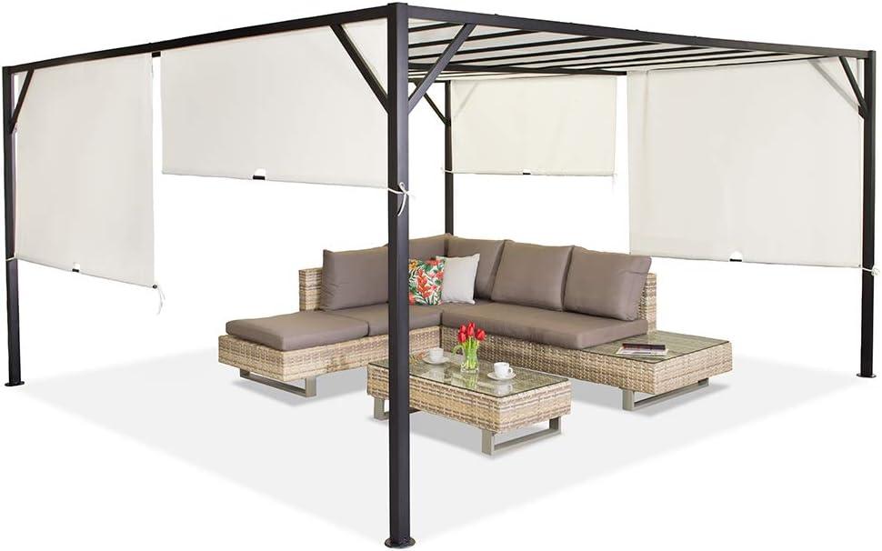 Garden Point Pérgola de Terraza Santorini   400 x 400 cm jardín para Cubrir Muebles de jardín y Jacuzzi   Montaje fácil   Crema