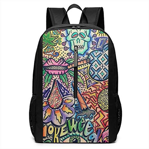 School Outdoors Bicycle Backpack Daypack Durable Polyester Multipurpose Anti-Theft Daypack Casual College School Daypack Large Capacity Bookbag, Smoke Weed Vintage Art (Smoke Weed Backpack)