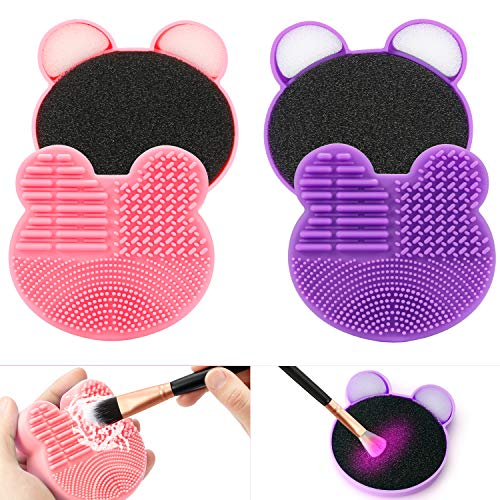 TailaiMei 2 Pack Makeup Brush Cleaning Mat with Color Removal Sponge, 2 in 1 Design Silicone Cleaner Pad for Dry Brush…
