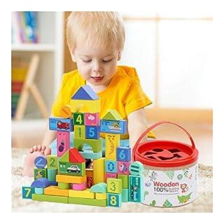 Safe Children Colored Wooden Barrels 50 Digital Traffic Fruit heap Blocks Puzzle Educational Toys Ride