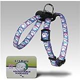 Coastal Pet Products DCP6248LBP Nylon Li'l Pals Adjustable Right Printed Pattern Dog Harness, 5/16-Inch, Light Blue Paw