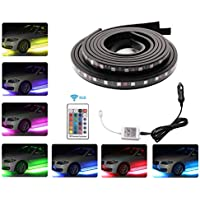 Car LED Underglow Strip Light,Minger 4pcs Underbody System Multi-color Neon Lights Kit with Wireless Remote Control