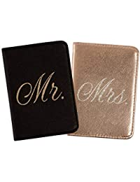 Passport Wallets Travel Holder Set: Mr. & Mrs. Slim Waterproof Passport Case Covers & Organizer Slots for ID, Money & Credit Card - Black & Rose Gold