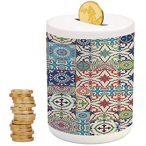 Moroccan,Money Bank for Kids,Printed Ceramic Coin Bank Money Box for Cash Saving,Patchwork Pattern from Colorful Moroccan Tiles Traditional Decorating Illustrations
