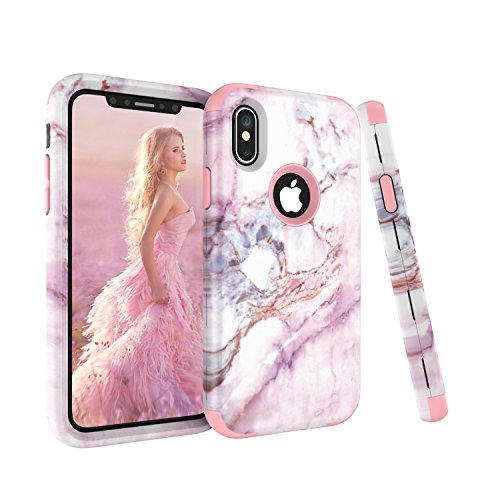 iPhone-X-Case-AOKER-Marble-Design-Pink-Series-Dual-Layer-Anti-Scratch-ShockProof-Bumper-Hard-Back-Cover-Soft-Silicone-Full-Body-Protective-Case-Fit-for-Apple-iPhone-X-iPhone-10