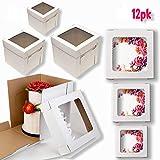 Cake Boxes with Window, 6 Sizes, 12pk White