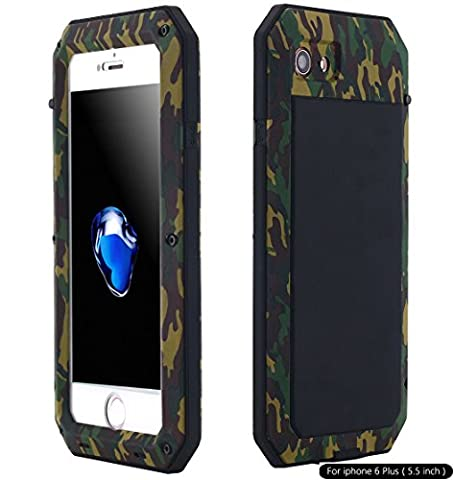 iPhone 6S Plus Case, Shockproof Dustproof Waterproof Heavy Duty Gorilla Glass Aluminum Alloy Metal Military Protector Skin Bumper Cover Shell Case for Apple iPhone 6 Plus / 6s Plus (Iphone 6 Plus Military Metal Case)