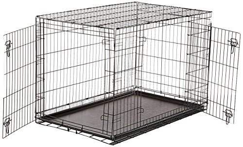 AmazonBasics Double-Door Folding Metal Dog Crate - 48 Inches