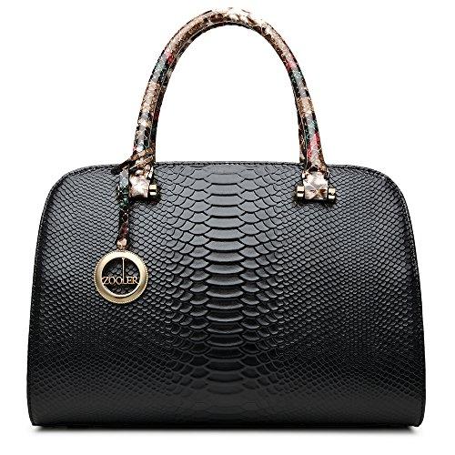 ZOOLER Womens Leather Handbags Top Handle Bags Crossbody Bag Serpentine Pattern