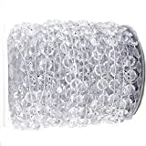 Tobway 98Ft Crystal Like Beads by the roll - Wedding Decorations - 1Roll (White)