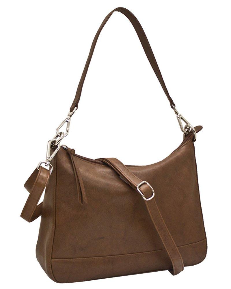 ili Leather 6091 Zip Top Hobo Handbag (Toffee)