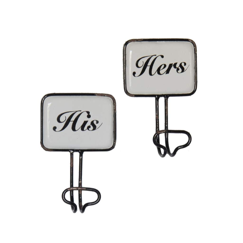VIPSSCI His /& Hers Wall Hooks Decorative Enamel Plaques with Metal Hooks Towel Robe Hangers Bathroom Accessories Decor Set of 2