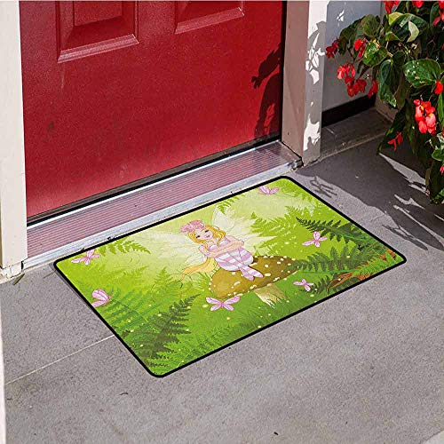 GloriaJohnson Nursery Welcome Door mat Magic Fairy Girl with Floral Hairstyle in Green Forest Pink Butterflies Door mat is odorless and Durable W29.5 x L39.4 Inch Green Pale Pink Brown