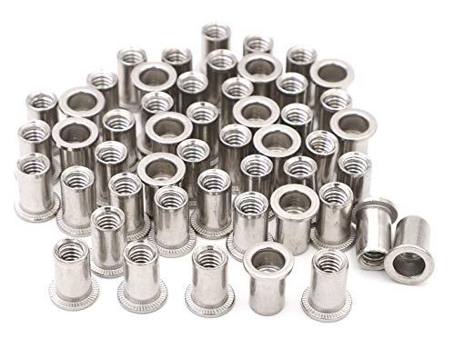 iExcell 50 Pcs 1/4-20UNC Stainless Steel 304 Rivet Nut Flat Head Threaded Insert Nutsert
