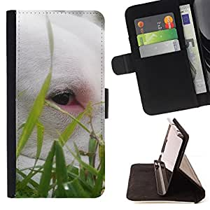 DEVIL CASE - FOR HTC One M8 - Cute Bullterrier Grass Summer Dog Pet - Style PU Leather Case Wallet Flip Stand Flap Closure Cover